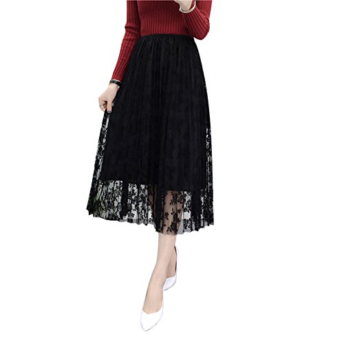 Prettychic Women's Lace Floral Tulle Skirt Maxi Layered Pleated Gauze Skirt