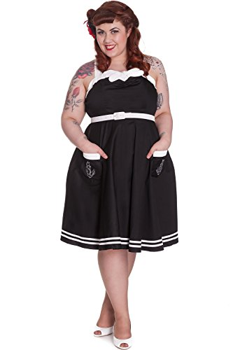 Hell-Bunny-Plus-Pinup-Black-Nautical-Sailor-Criss-Cross-Straps-Party-Dress