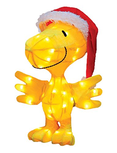18″ Pre-Lit Peanuts Soft Tinsel Santa Claus Woodstock Christmas Yard Art Decoration – Clear Lights