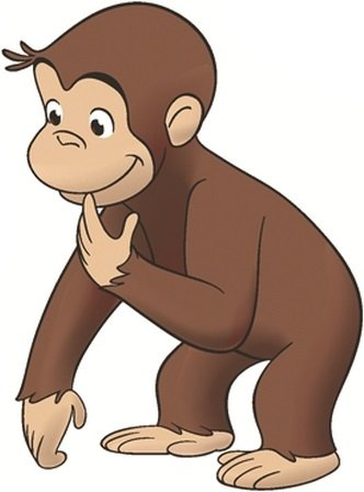 5 In. Curious George Monkey Removable Self Stick Adhesive Vinyl Decorative Wall Decal