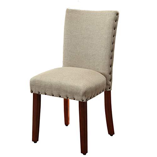 Kinfine Parsons Textured Nail Head Dining Chair Burlap