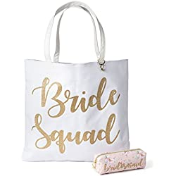 Reversible Bride Canvas Tote Bag with Cosmetic Bag (Bride Squad)