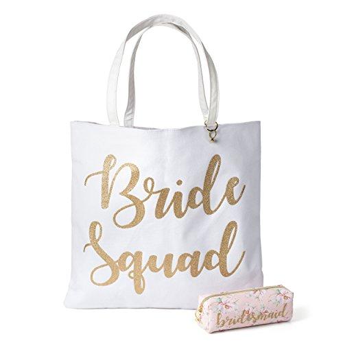 Reversible Bride Canvas Tote Bag with Cosmetic Bag (Bride Squad)