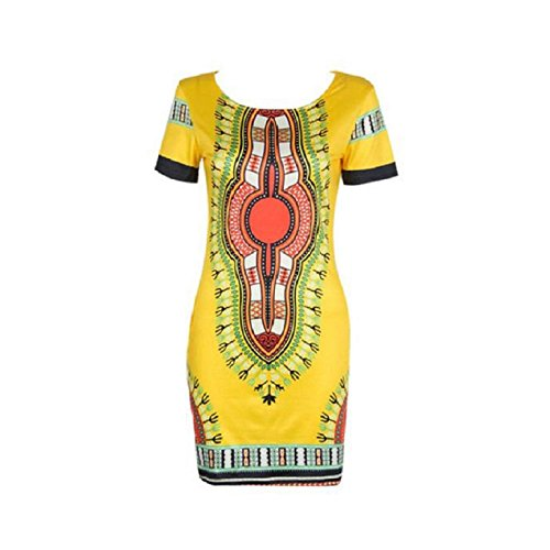 africana con dashiki vestido Amarillo de manga cuerpo de mujeres impresión Culater corta del tradicional el Afggvq