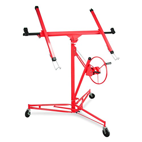 Ldealchoiceproduct Drywall Lift 11' 15' Lift Panel Hoist Dry Wall Jack Rolling Caster Lifter Construction Lockable Red