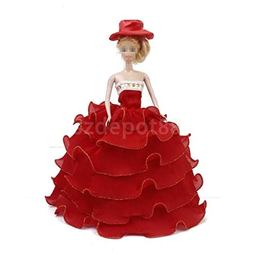 Red Princess Wedding Party Dress Gown Outfit Clothes by uptogethertek