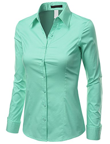 Doublju Slim Fit Cotton Blend Button Down Collared Shirt for Women with Plus Size Aqua ()