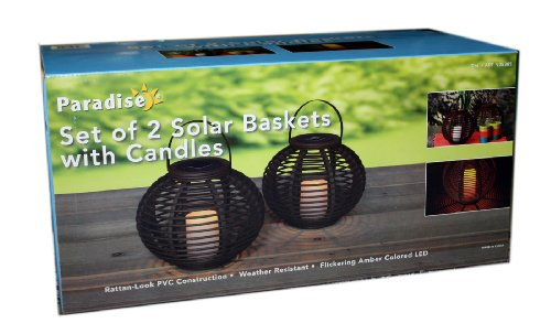 Paradise Set of 2 Solar Baskets with Candles