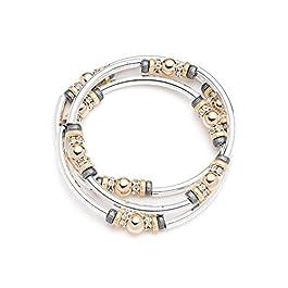 NINE WEST Women's Classics Tri-Tone Set of 3 Bangle Stretch Bracelet