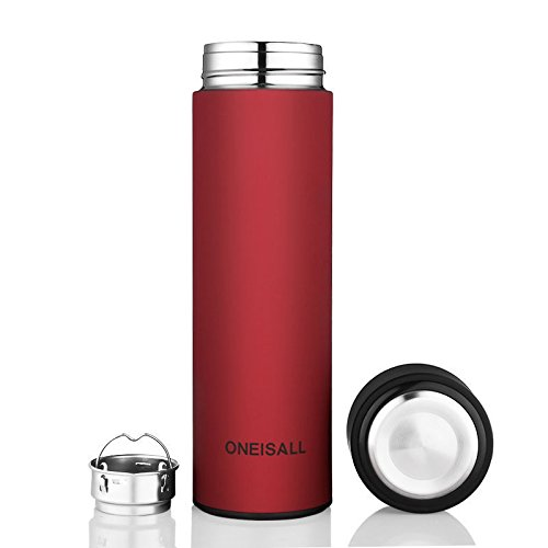 Red Stainless Steel Flask Insulated Bottle Travel Mug 15 Oz by Travel Mugs