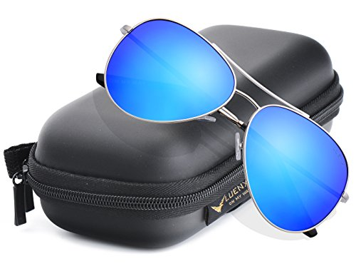 LUENX Aviator Sunglasses Polarized for Men & Women - Blue Framed Glasses