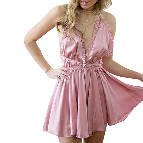 (European American Style Seductive Plunge V Multi-Color Shorts One-Piece Strappy Pajama Night Gown for Women,Pink,L)
