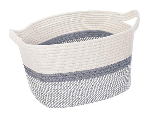 CHICVITA Square Cotton Rope Woven Basket with Handles for Books, Magazines, Toys - Decorative Rectangle Basket for Baby Nursery, Living Room, Bathroom 13.5