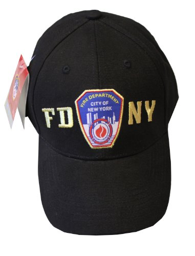 FDNY Baseball Hat Police Badge Fire Department Of New York City Black & Gold -