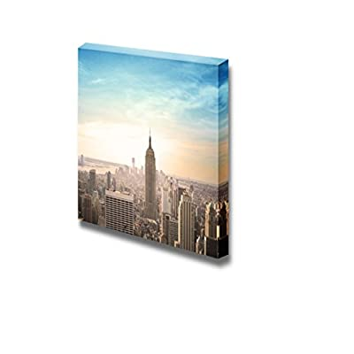 Highrise and Tall Buildings of City in Bird'SEye View at Evening - Canvas Art Wall Art - 12
