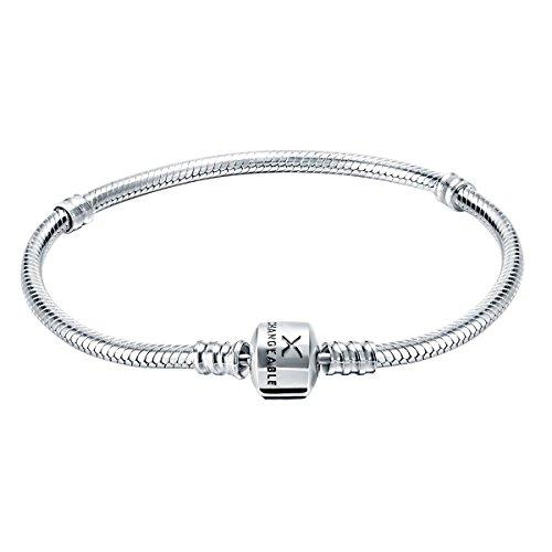 Changeable 925 Sterling Silver Women Charms Snake Bracelet 19CM