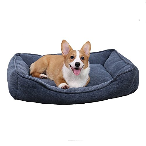 PAWZ Road Rectangular Bolster Dog Bed for Medium Dogs, Super Thick and Warm Machine Washable, Grey -29