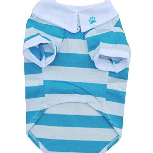 Price comparison product image Lowpricenice(TM)Lapel Stripe Cotton Dog T-Shirt Clothes (S, Blue)