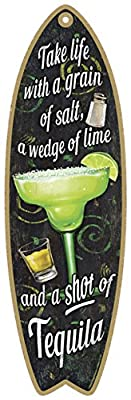 "SJT ENTERPRISES, INC. Margarita - Take Life with a Grain of Salt, a Wedge of Lime and a Shot of Tequila 5"" x 16"" Surfboard Wood Plaque Sign (SJT41305)"
