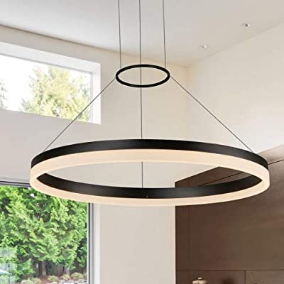 "VONN VMC31650BL Tania 24"", Adjustable Suspension Fixture, Modern Circular Chandelier Lighting in Black Integrated LED, 23.5""L x 23.5""W x 120"" (7.75"") H, - LED: integrated LED fixture Adjustable: cable locking pins allow the Suspension height to be easily changed post-install Dimmable: dimmable LED (15% - 100%) with elv - electric low Voltage dimmers - kitchen-dining-room-decor, kitchen-dining-room, chandeliers-lighting - 41kuYJE2G%2BL. SS400  -"