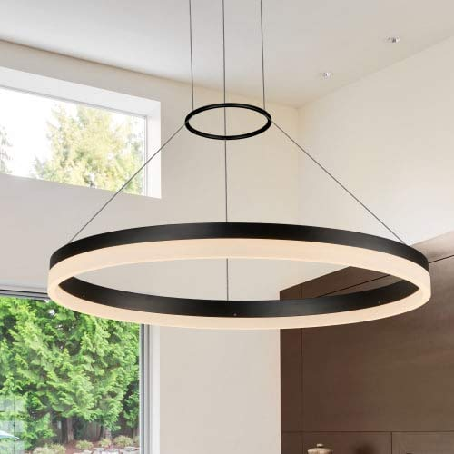 VONN VMC31650BL Modern/Contemporary 24″ Led Chandelier, Adjustable Suspension Fixture, Modern Circular Chandelier Lighting, Tania Collection, 23.63″ x 120.06″, Black