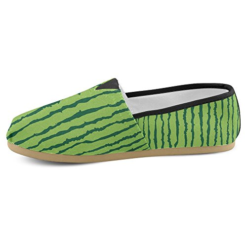 InterestPrint Womens Loafers Classic Casual Canvas Slip On Fashion Shoes Sneakers Mary Jane Flat Green Watermelon E3CeAvlN8h
