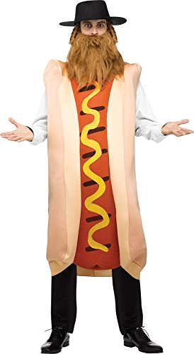 UHC Men's Kosher Hot Dog Outfit Funny Comical Theme Party Halloween Costume, OS (Hot Male Superhero Costumes)