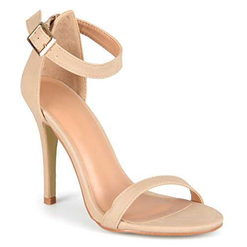 Brinley Co. Womens Open Toe Ankle Strap Pumps Nude 8.5 M US