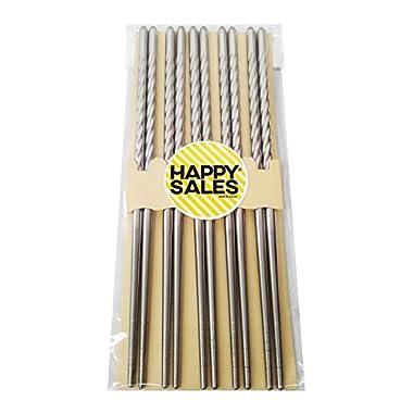 10 Pc Chopstick Stainless Steel Chopsticks 5 Pairs Spiral