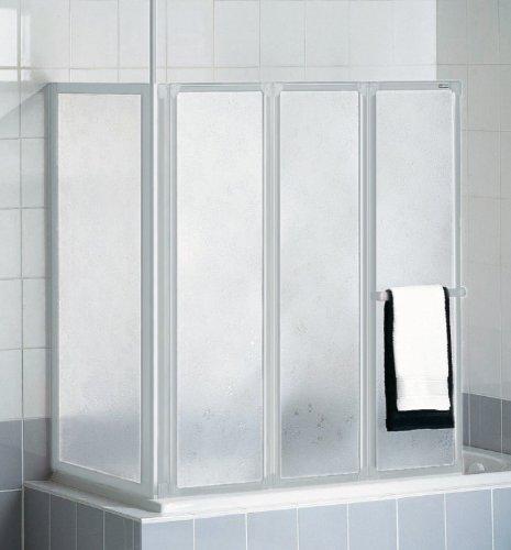 Schulte D1570 Badewannenfaltwand Badewannenaufsatz Duschwand mit Seitenwand 3-tlg. 1288x1400 mm, für Wannenbreite 670-700 mm, Kunstglas, Profil alunatur