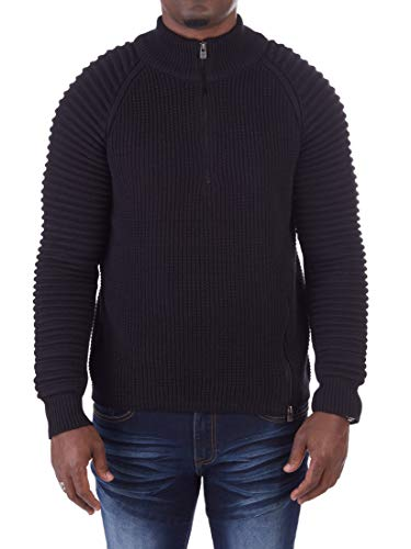 XRAY JEANS Mens Quarter Zip Ribbed Cable Knit Striped Pattern Pullover Sweater Long Sleeve Black