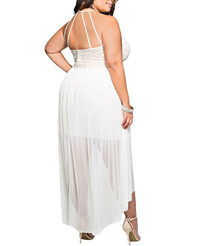 Lalagen Women\'s Plus Size Halter White Lace Wedding Party Dress Maxi ...