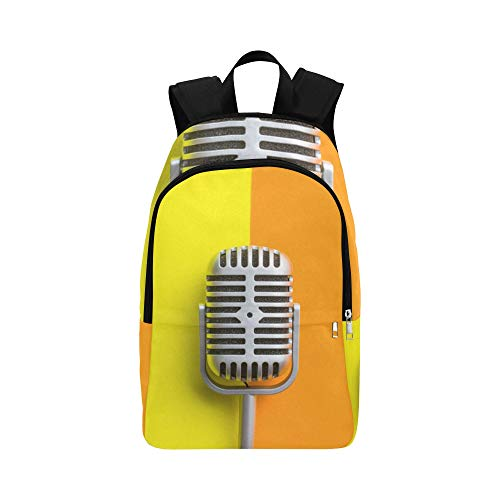HTJZH Singer's Microphone Casual Daypack Travel Bag College School Backpack for Mens and Women