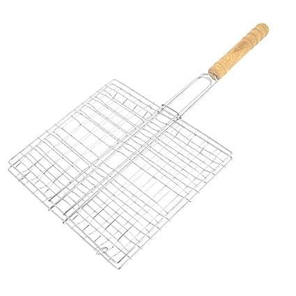 eDealMax metal plegable de cocina Fish Grill Basket 23cm x 21cm para Gamping Backyard BBQ
