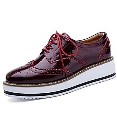 Catata Womens Wingtip Oxfords Lace-up Platform Brogue Shoes Wedding Dress Wedges Red Size: 5