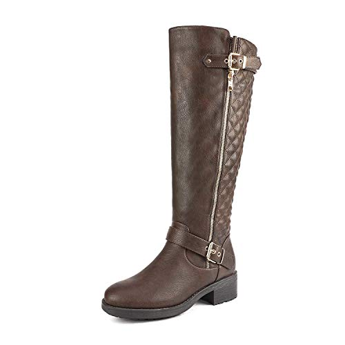 DREAM PAIRS Women's Utah Brown Low Stacked Heel Knee High Riding Boots Wide Calf Size 12 M US