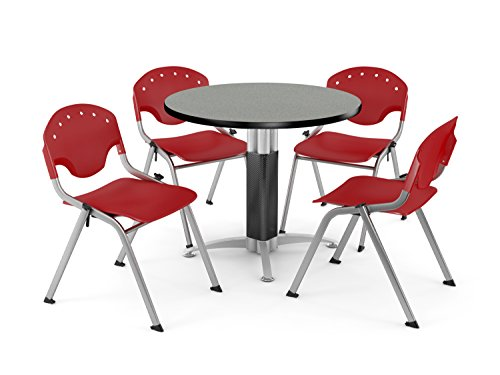 OFM PKG-BRK-023-0008 Breakroom Package, Gray Nebula Table/Red Chair by OFM