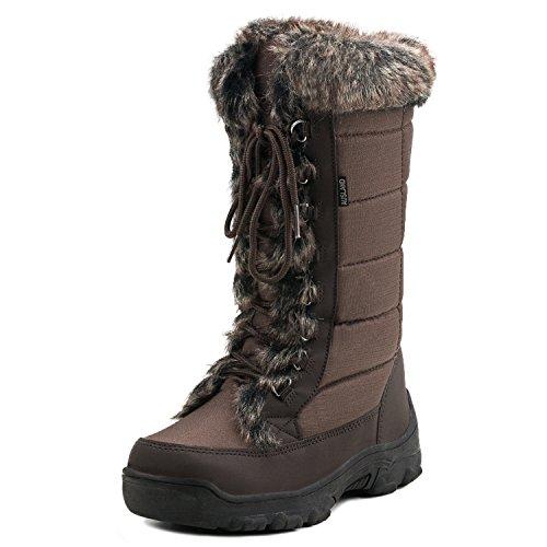 Calf Brown Oxfords (Shenda Women's Mid-Calf Oxford Fabric Snow Boots E7623 Chocolate 7.5US/38EU)