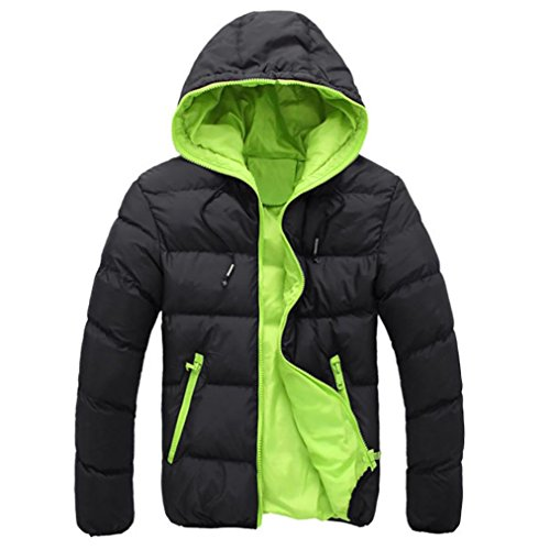 Forthery Men's Packable Stand Collar Down Puffer Jacket (XXL, Green1) (Lined Storm Parka)