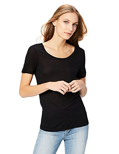 Ladies Semi Sheer T-shirt - Amazon Brand - Daily Ritual Women's Super Soft Modal Semi-Sheer Pocket T-Shirt, Black, Medium