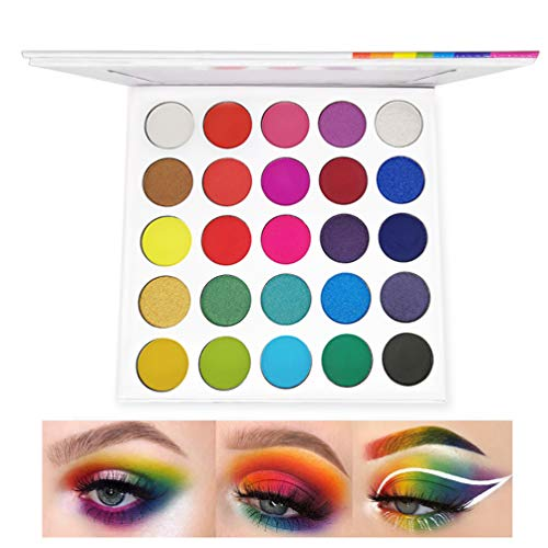Rainbow Eyeshadow Palette,Professional 25 Color Highly Pigmented Matte Shimmer Eye Shadow Neon Powder Long Lasting Bright Shades Waterproof Cosmetics Set(25M)