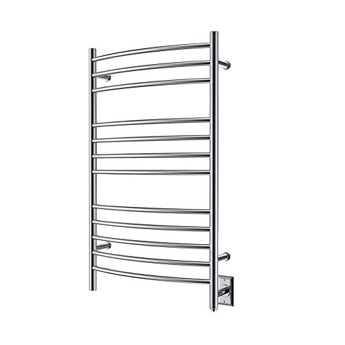 HEATGENE Towel Warmer Wall Mount Electric Plug-in/Hardwired Heated Towel Rack Brush Finish (Renewed)