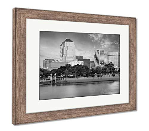 Ashley Framed Prints Shreveport Louisiana Skyline, Wall Art Home Decoration, Black/White, 30x35 (Frame Size), Rustic Barn Wood Frame, AG6131779