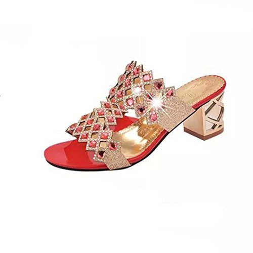 Lolittas Womens Diamante Sandals, Gold Sparkly Glitter Rhinestone Wedding Bridal High Block Heel Wide Fit Open Toe Crystal Outdoor Pantshoes Size 2-8 Red