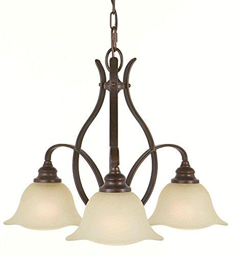 Feiss F2049/3GBZ Morningside Glass Mini Chandelier Lighting, Bronze, 3-Light (24