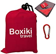 Compact Waterproof Pocket Beach Blanket. Portable Lightweight Folding Tarp with Red Travel Case. Outdoor Picni