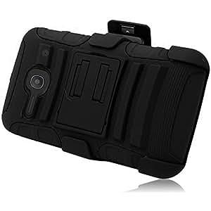 One Touch Evolve 2 4037 Case - Wydan (TM) Hybrid Rugged Kickstand Holster Belt Clip Case Hard Soft Gel Cover For Alcatel One Touch Evolve 2 4037 - Black on Black w/ Wydan Stylus Pen