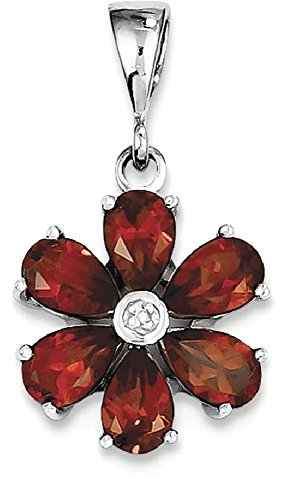 Silver Faceted Garnet Necklace (ICE CARATS 925 Sterling Silver Red Garnet Diamond Flower Pendant Charm Necklace Gemstone Fine Jewelry Gift Set For Women Heart)
