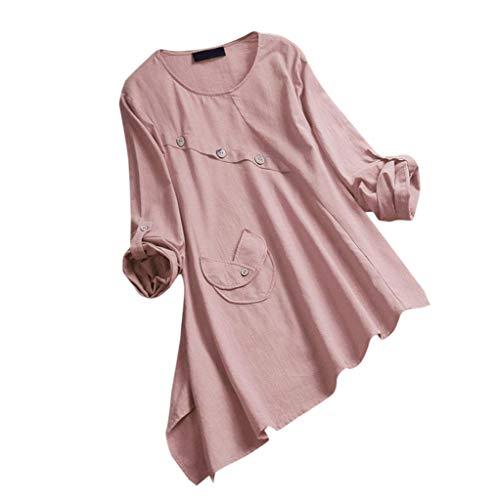 a41c9a2e98a AMOFINY- Women s Tops Summer Casual Asymmetrical Long Sleeve Buttoned Plus  Size T-Shirt Top