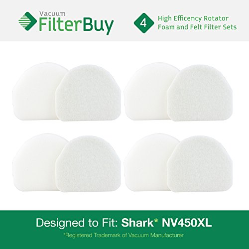 FilterBuy Shark Rotator Professional Replacement Filter Foam & Felt Kits, Part #XFF450. Designed to fit Shark Rocket Pro NV480 & Shark Rotator Powelight NV500 Upright Vacuums. Pack of 4.